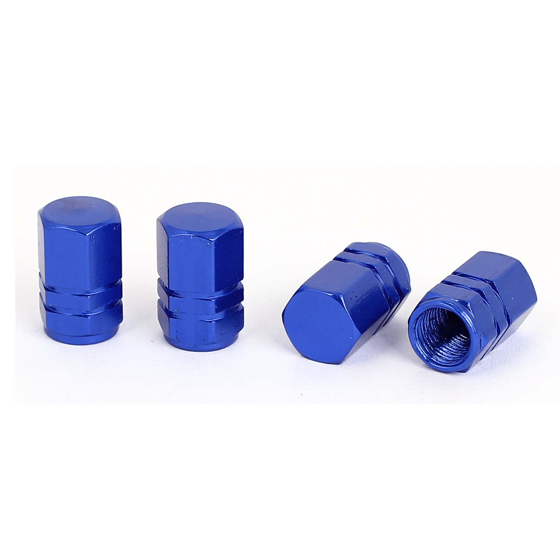 4 Pcs Dark Blue Metal Hexagon Auto Car Tyre Tire Valve Cap Cover