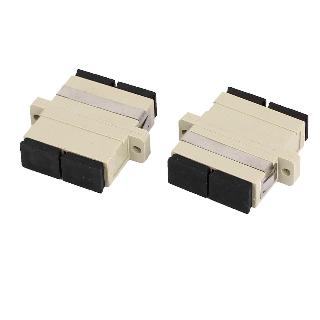 SC/SC Duplex Multimode Flange Fiber Optical Connector Adapter Coupler 2Pcs