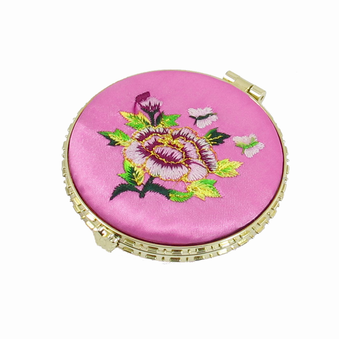 Floral Embroider Foldable Compact Mirror Light Pink Gold Tone