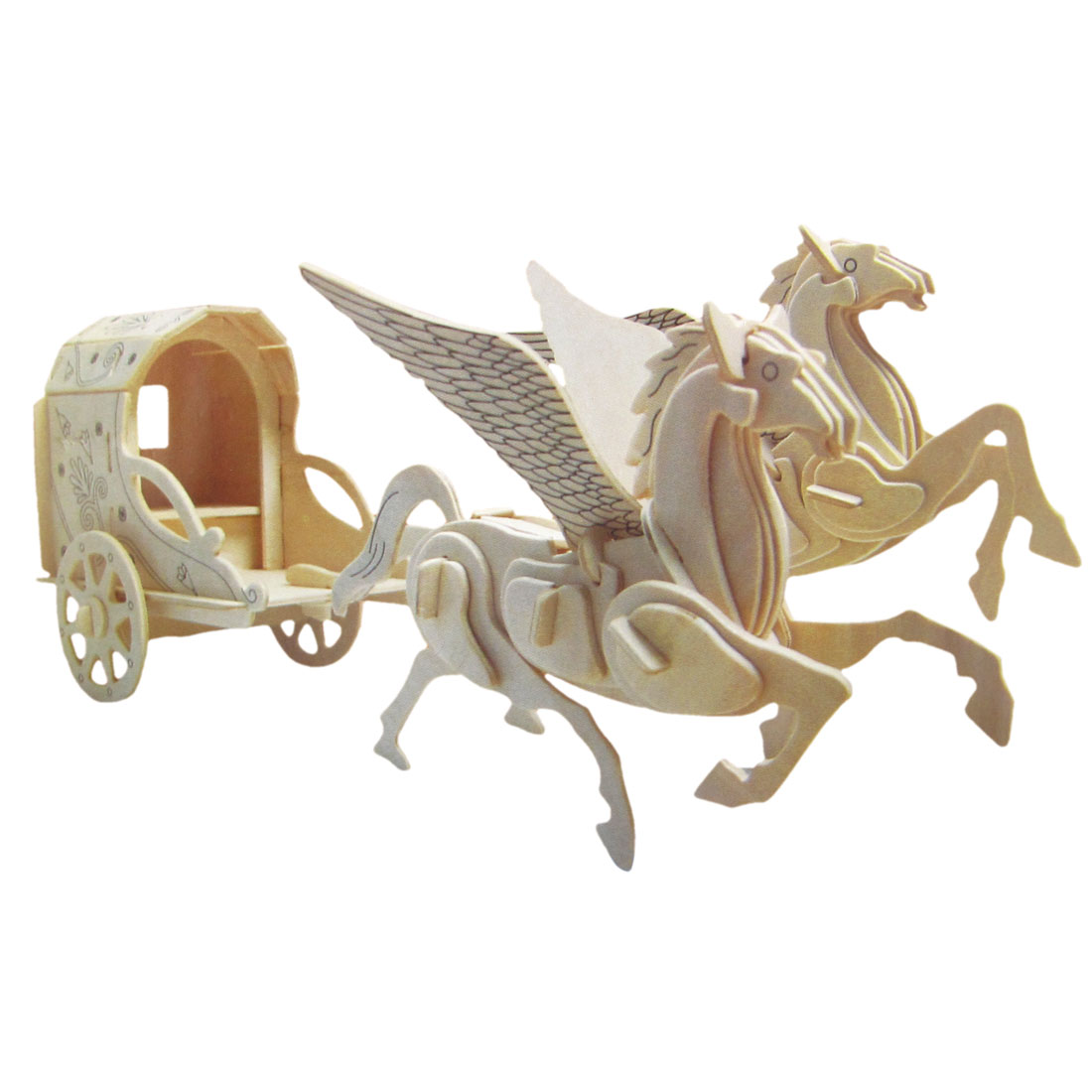 3D Pegasus Carriage Model Wooden Construction Kit Puzzle Toy for Kids