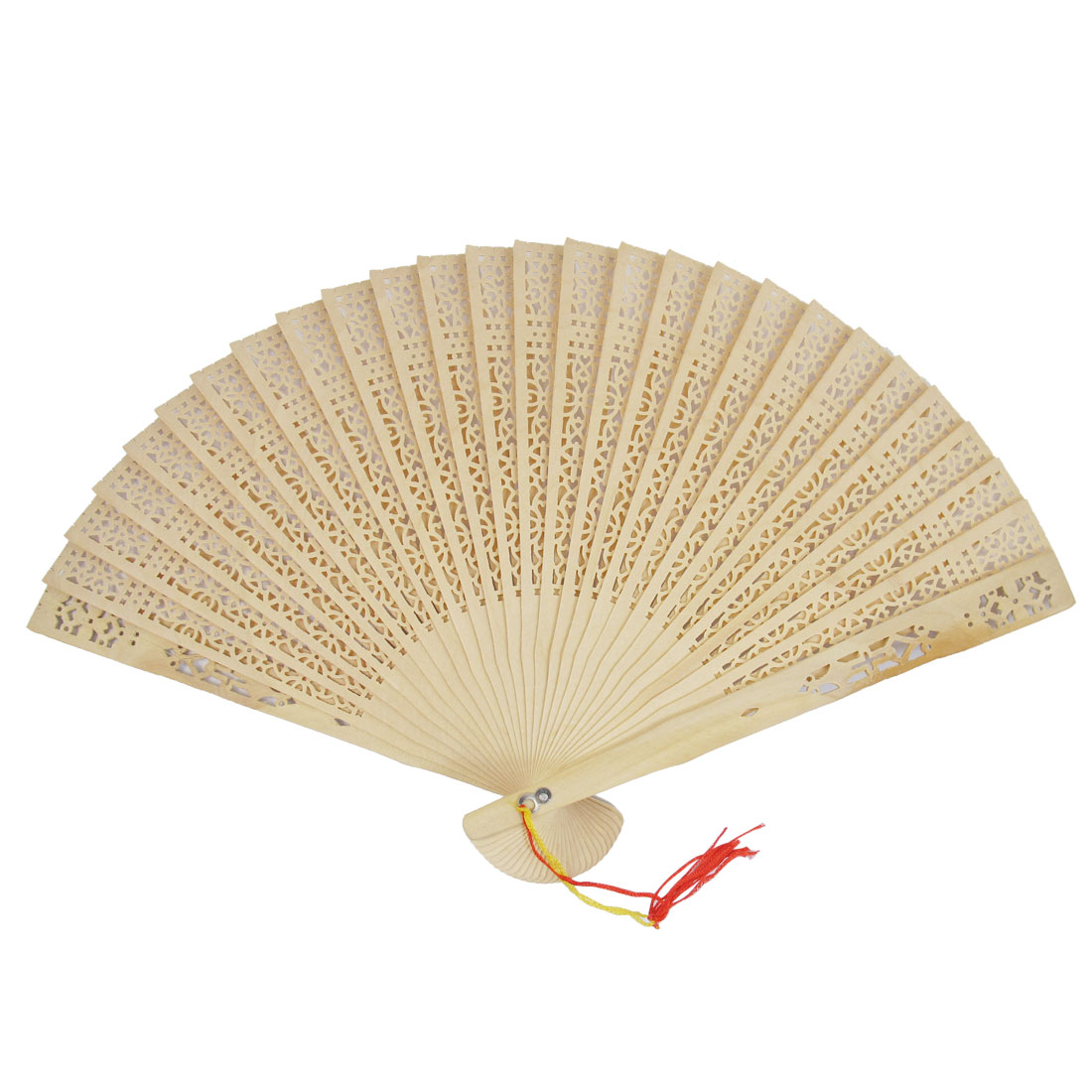 Beige Tassel Sandalwood Fragrant Hollow Out Design Foldable Hand Fan