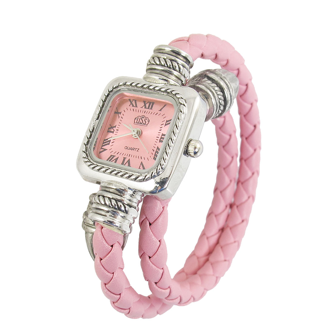 Light Pink Knitted Strap Square Shaped Bangle Quartz Watch for Ladies