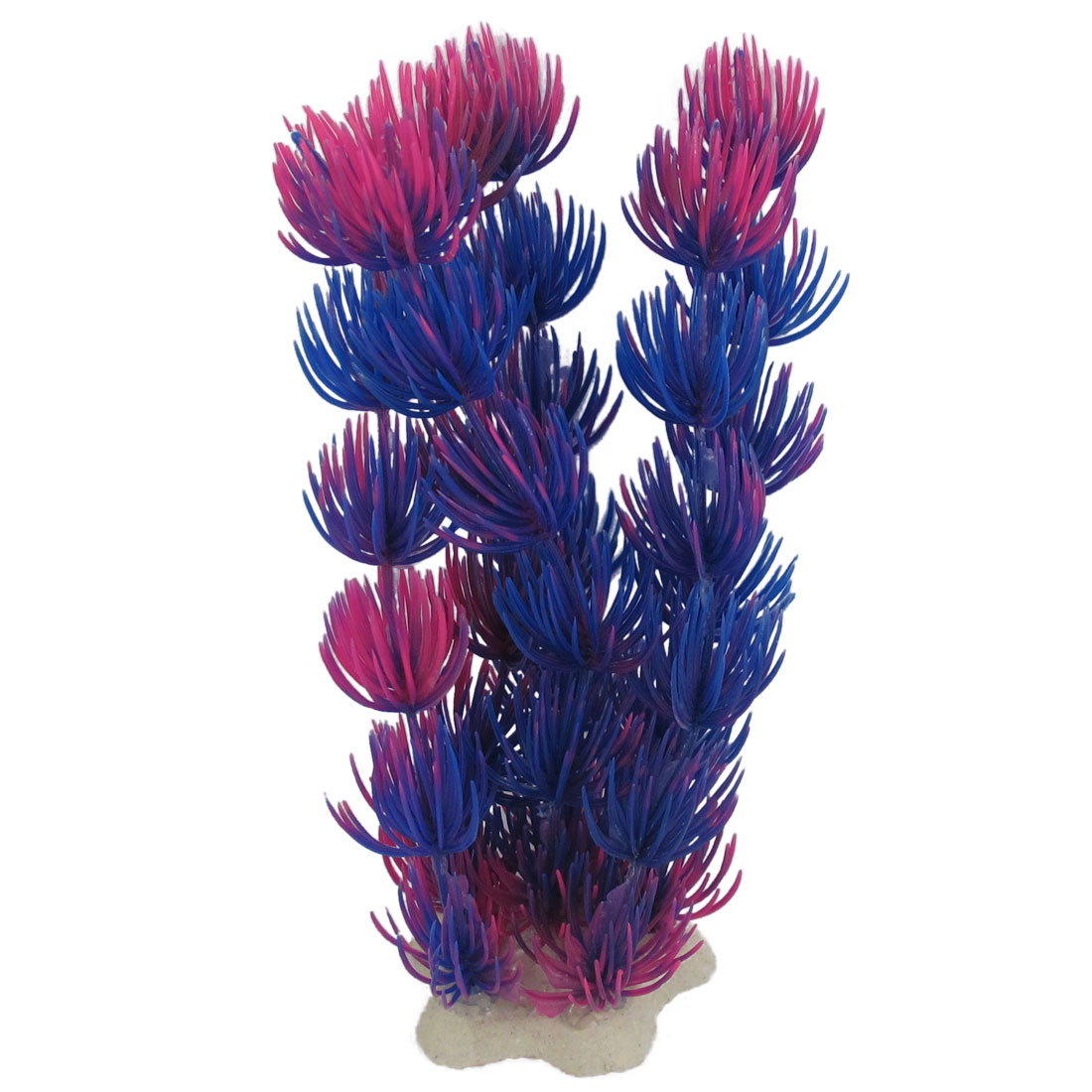 "6.9"" Height Blue Fuchsia Plastic Aquatic Grass Plant for Aquarium Fish Tank"