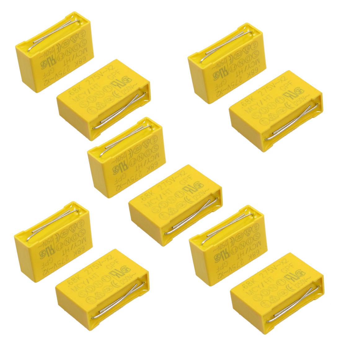 10 Pcs AC 275V 0.68uF X2 Series Polypropylene Film Safety Capacitors