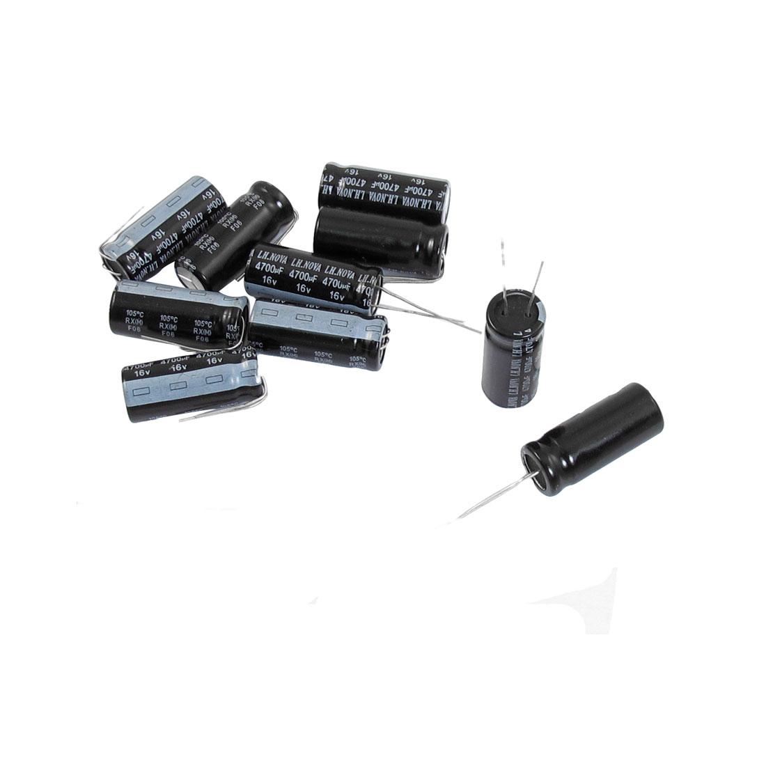 10 Pcs 4700uF 16V 13mm x 30mm Aluminum Electrolytic Capacitors