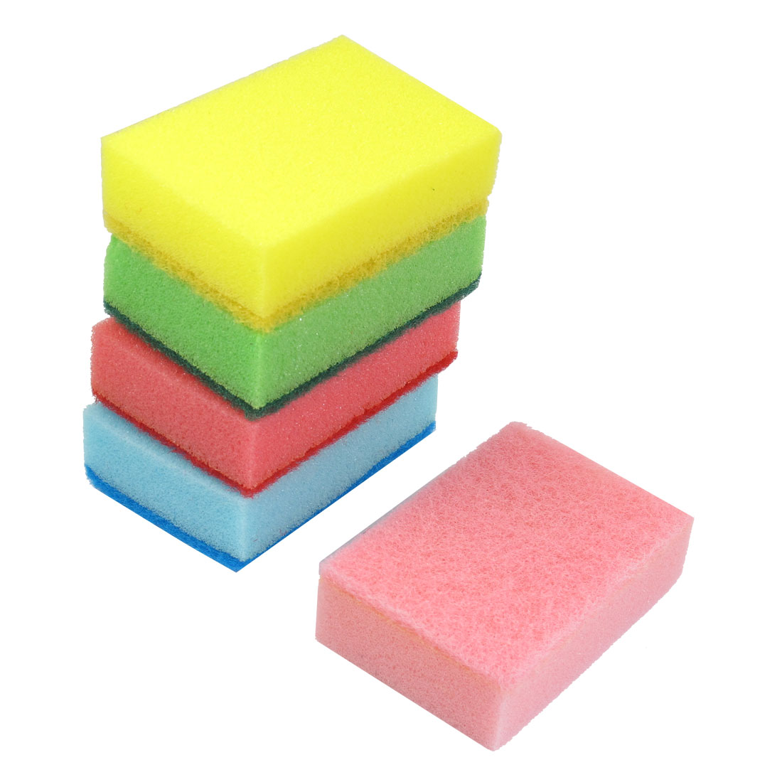 5 Pcs Multicolor Kitchenware Rectangle Shaped Cleaning Sponge Pads