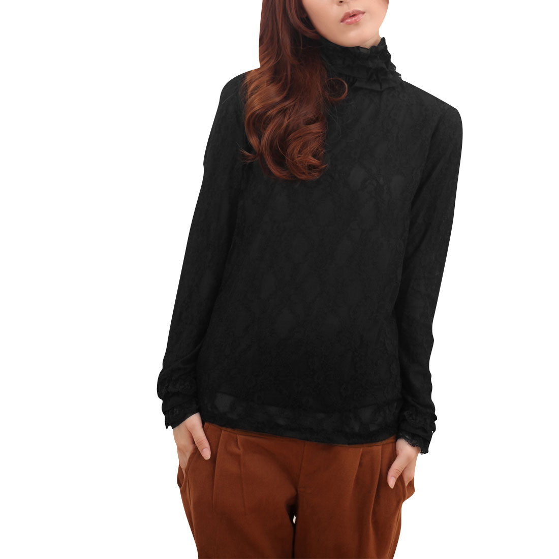 Maternity Woman Black Stand Collor Pullover Long Sleeve Blouse M