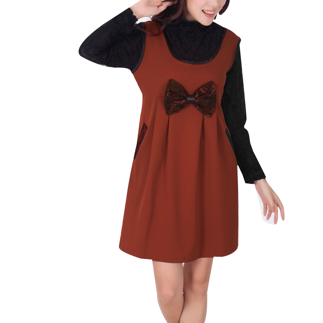 Maternity Dark Orange Scoop Neck Sleeveless Bowknot Decor Slant Pockets Tunic Shirt L