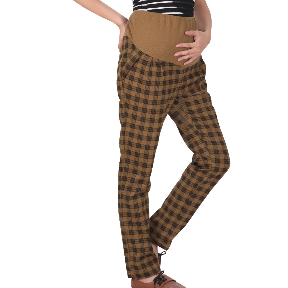Maternity Camel Color Stretch Plaids Adjustable Waistband Skinny Pants L