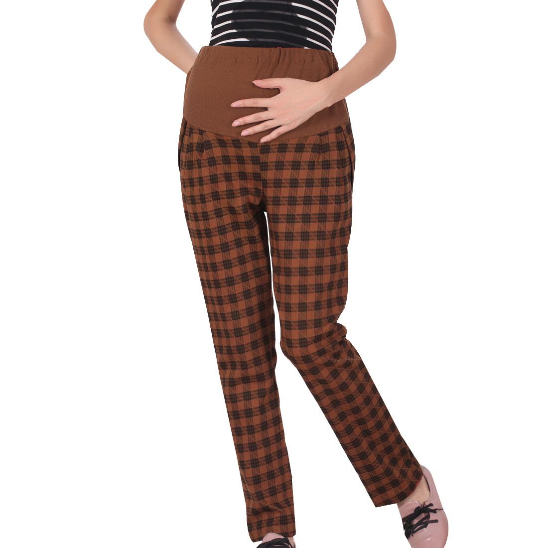 Woman Rust Color Stretch Plaids Pattern Slant Pockets Adjustable Waist Pants L