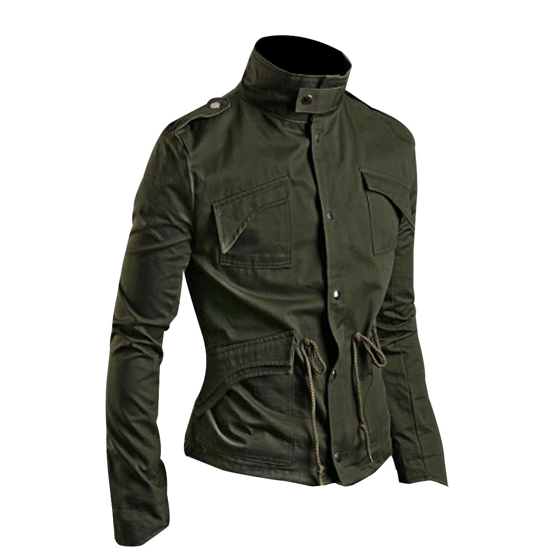 Men Olive Green Stylish Long Sleeve Stand Collar Four Pockets Zip Up Jacket M