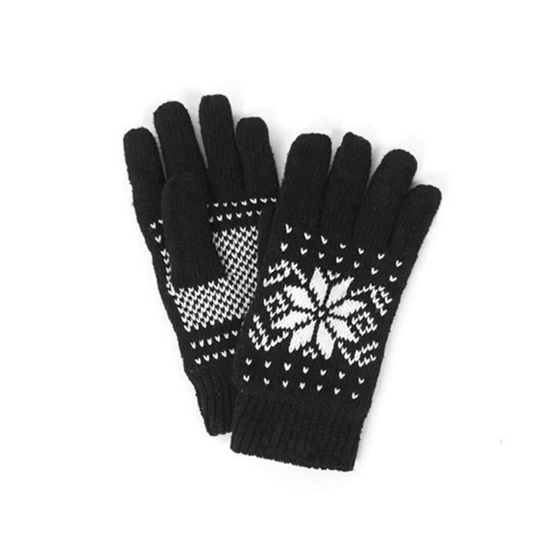 Mens Black Knitting Hands Warmers Leisure Full Finger Gloves