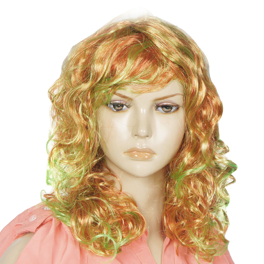 Doll Style Curly Long Hair Cosplay Party Red Green Synthetic Wig