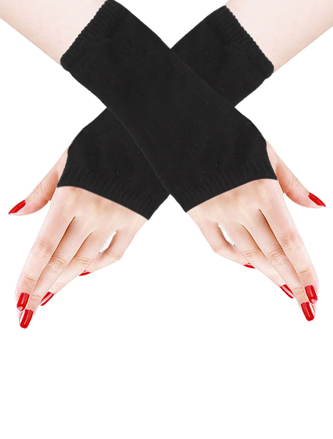 Pair Black Knit Fingerless Short Gloves for Ladies