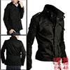 Men Black Fashion Pockets Front Button-tab Detail Zipped Button Closure Fall Jacket M
