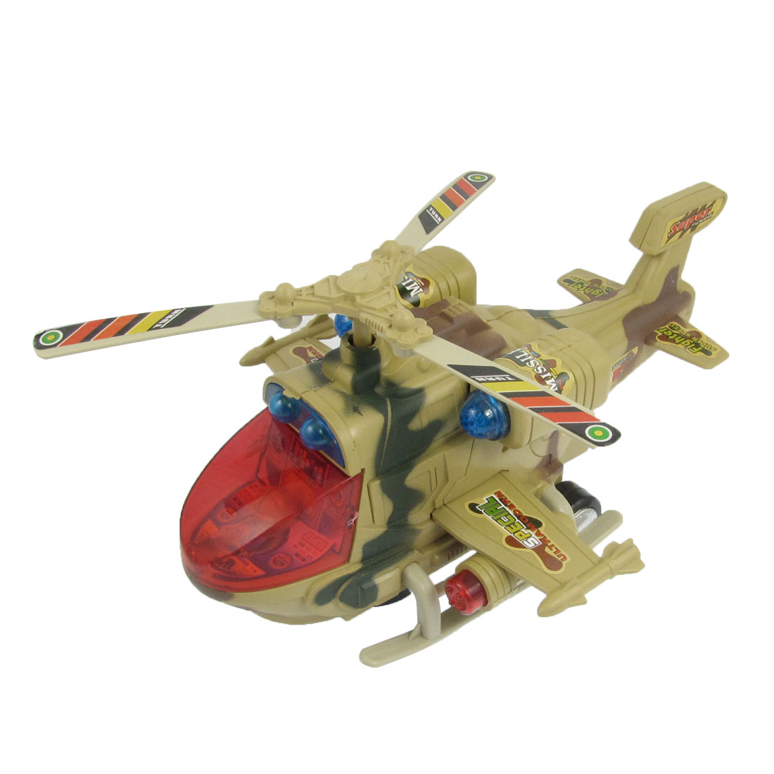 Yellow Camouflage Pattern Helicopter Airplane Model Toy for Kids