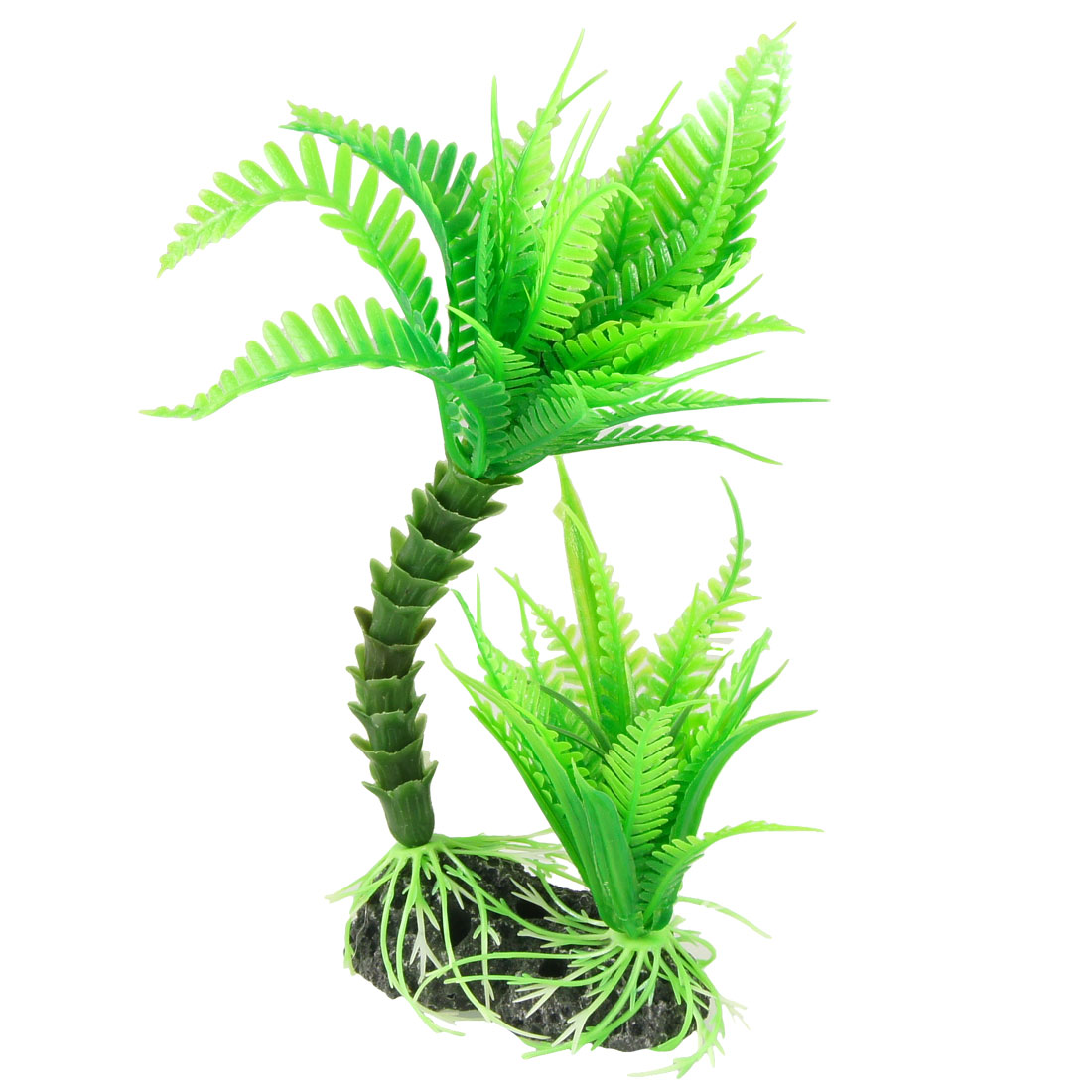 "7.1"" Height Resin Base Green Aquarium Plastic Tree Plant Grass for Fish Tank"