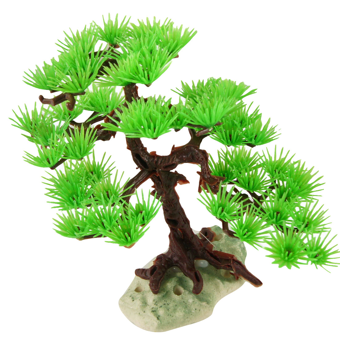 "7.1"" Height Green Brown Aquarium Plastic Pine Tree Plant Ornament for Fish Tank"