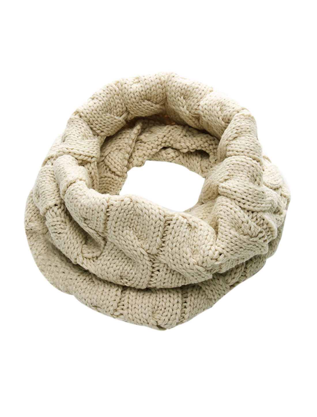 Men Off White Knitting Winter Warmer Tube Style Thick Tube Scarf