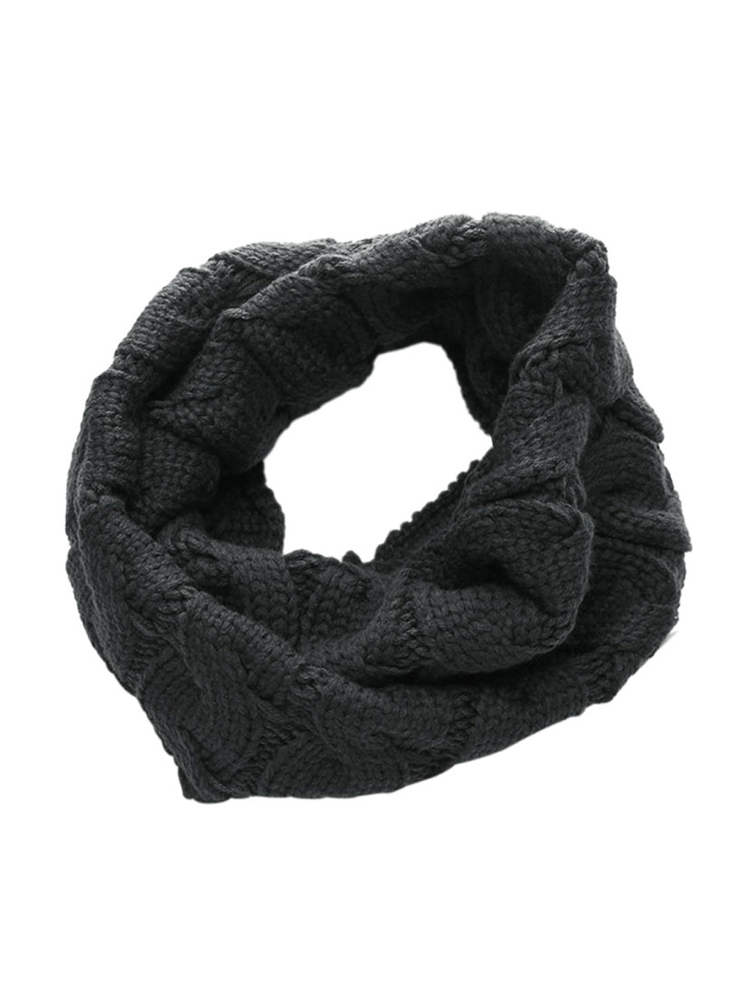 Mens Dark Gray Stylish Textured Detail Neckwear Circle Scarf