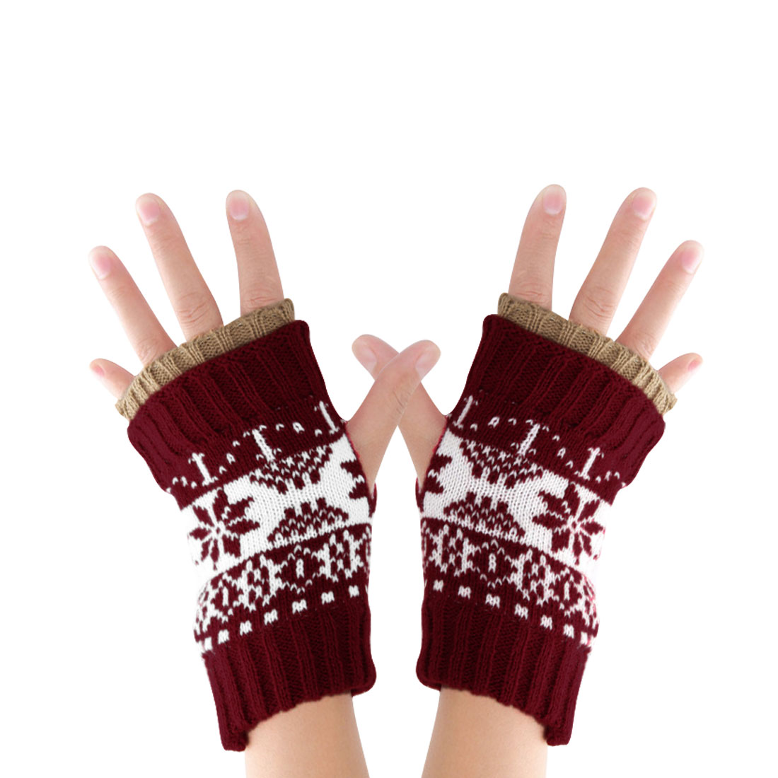 Men Dark Red Knitting Thumb Hole Warm Stylish Fingerless Gloves