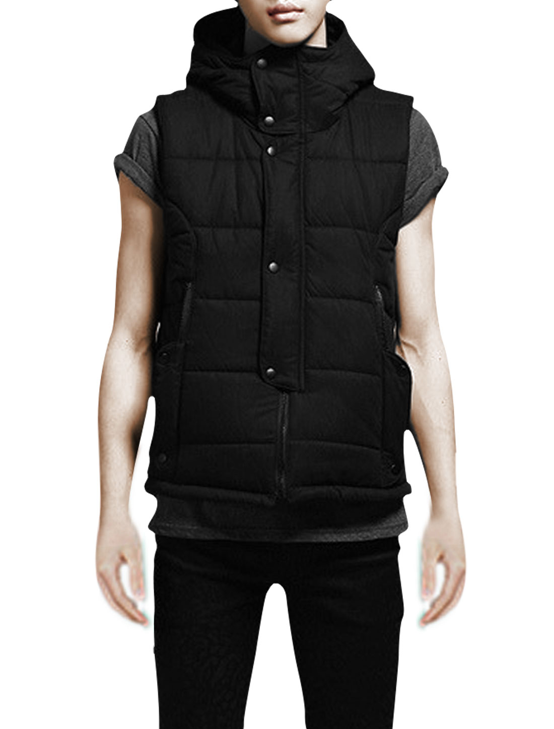 Mens Sleeveless Zip Closure Front New Fashion Black Padded Vest M