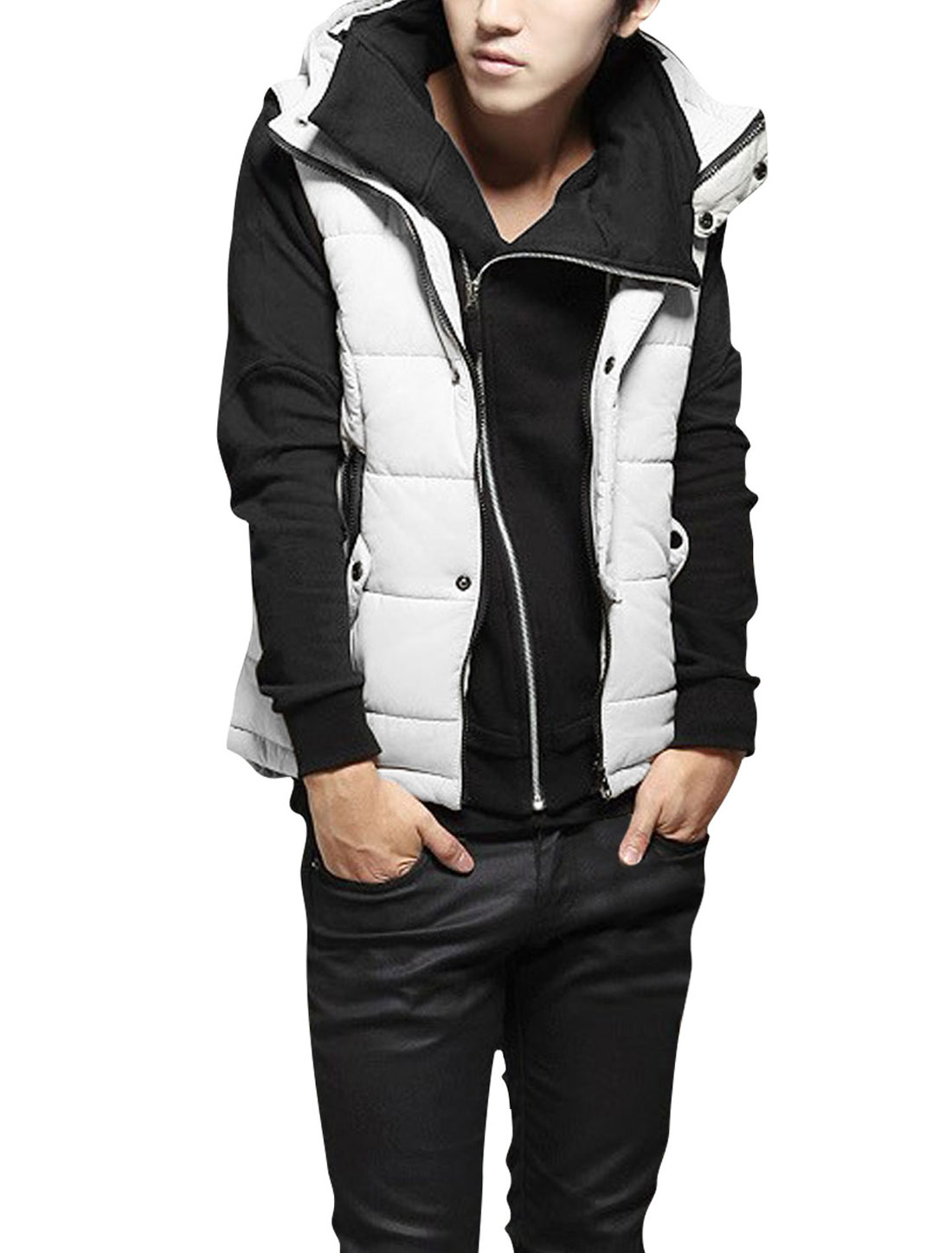 Mens Sleeveless Snap Fastener Korea Stylish White Padded Vest M