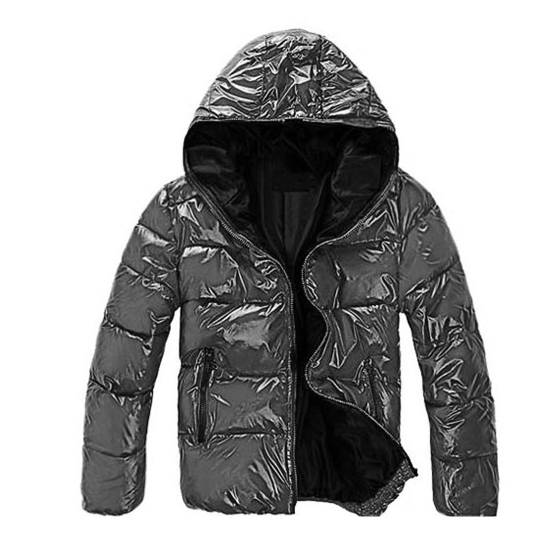 Men Medium Gray Black Long Sleeve Zip Up Hoody Winter Wadded Jacket M