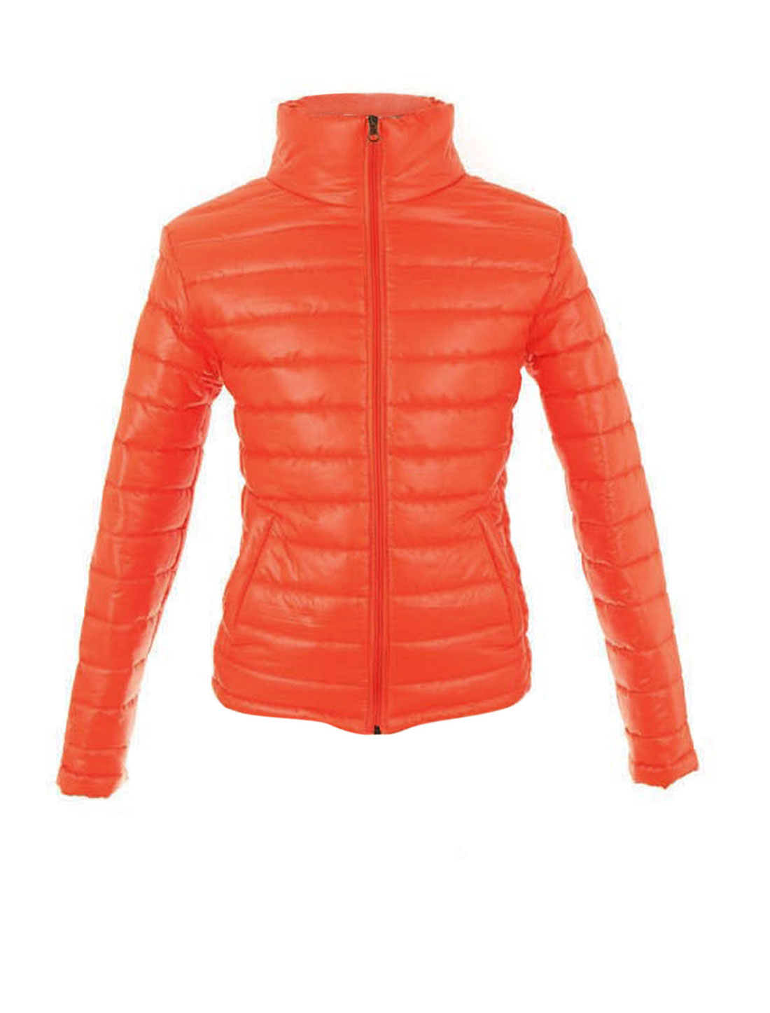Mens Stylish Funnel Neck Long Sleeve Faux Leather Orange Padded Jackets M