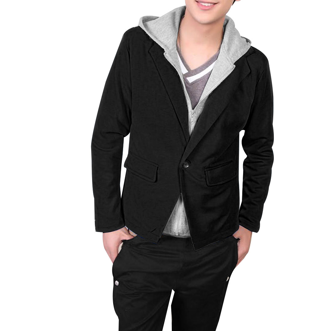 Men Black Light Gray Long Sleeves Zip Up One Button Front Coat M
