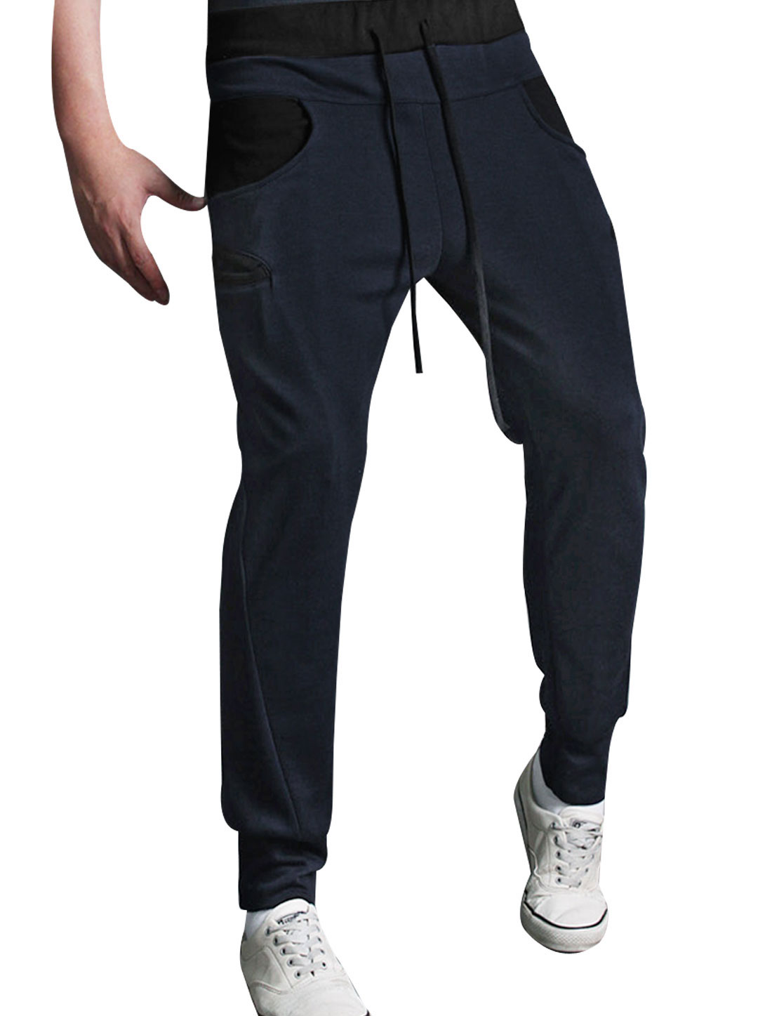 Mens Low Rise Two Front Top Pockets Dark Blue Drawcord Sports Pants W28
