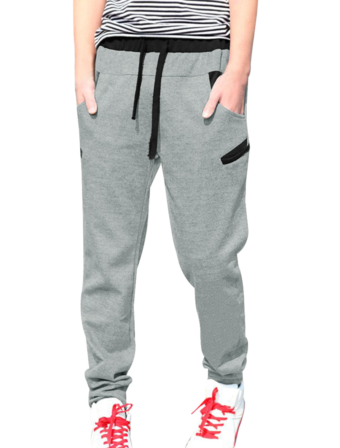 Mens Elastic Low Waist Stylish Color Patch Light Gray Sweatpants W32
