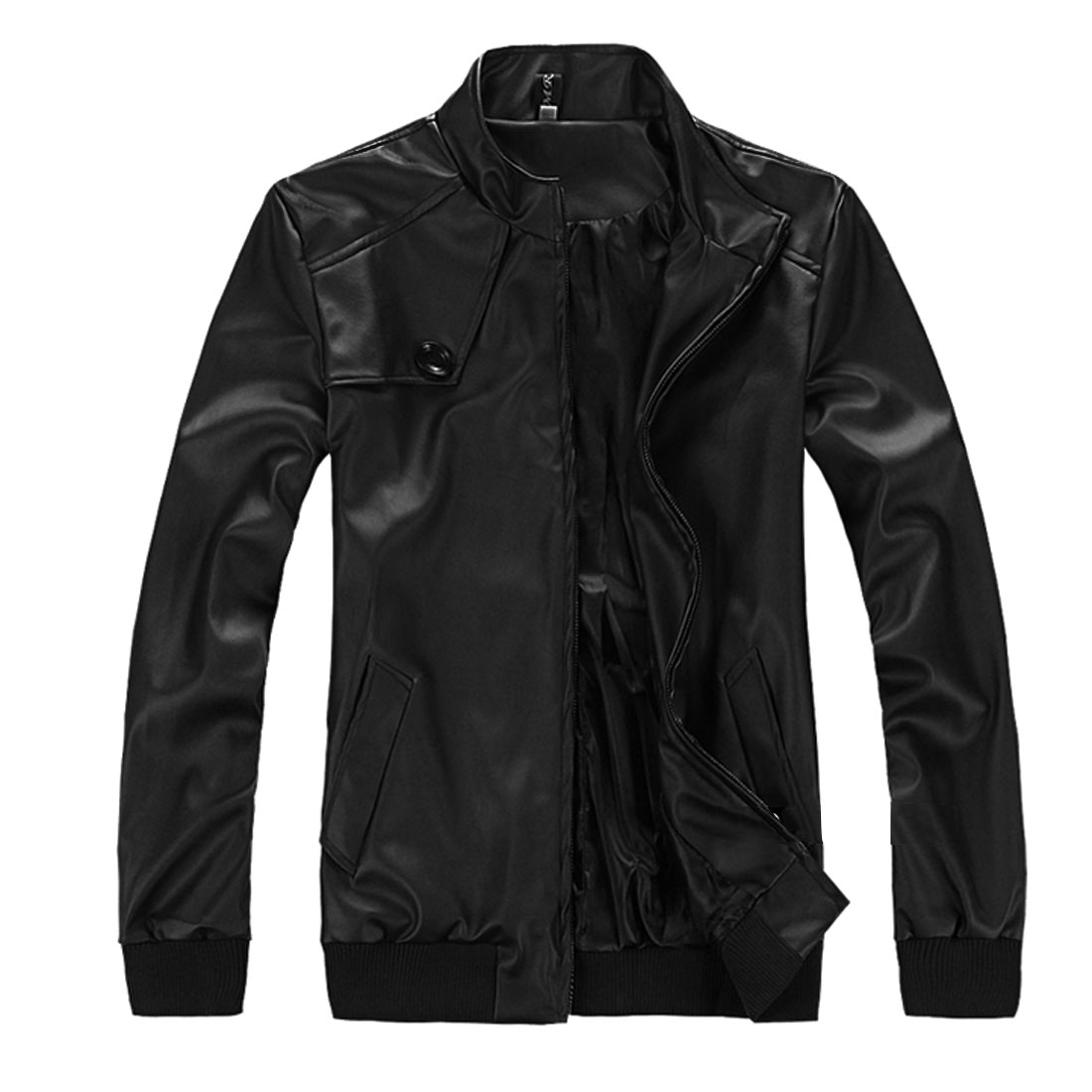 Mens Classic Black Leather Look Zip Closure Front Autumn Bomber Jackets S