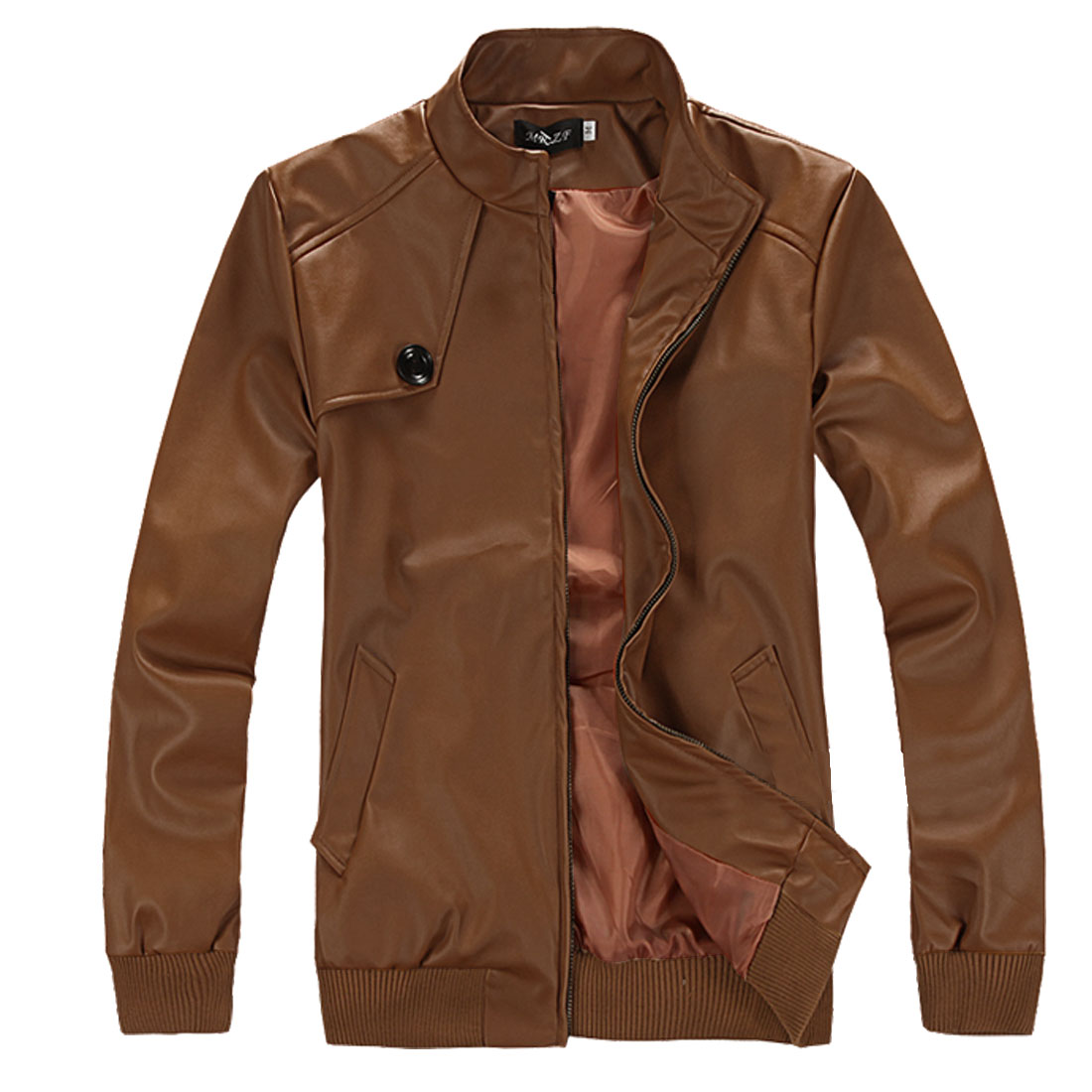 Mens Brown Stand Collar New Fashion Leather Look Jackets M