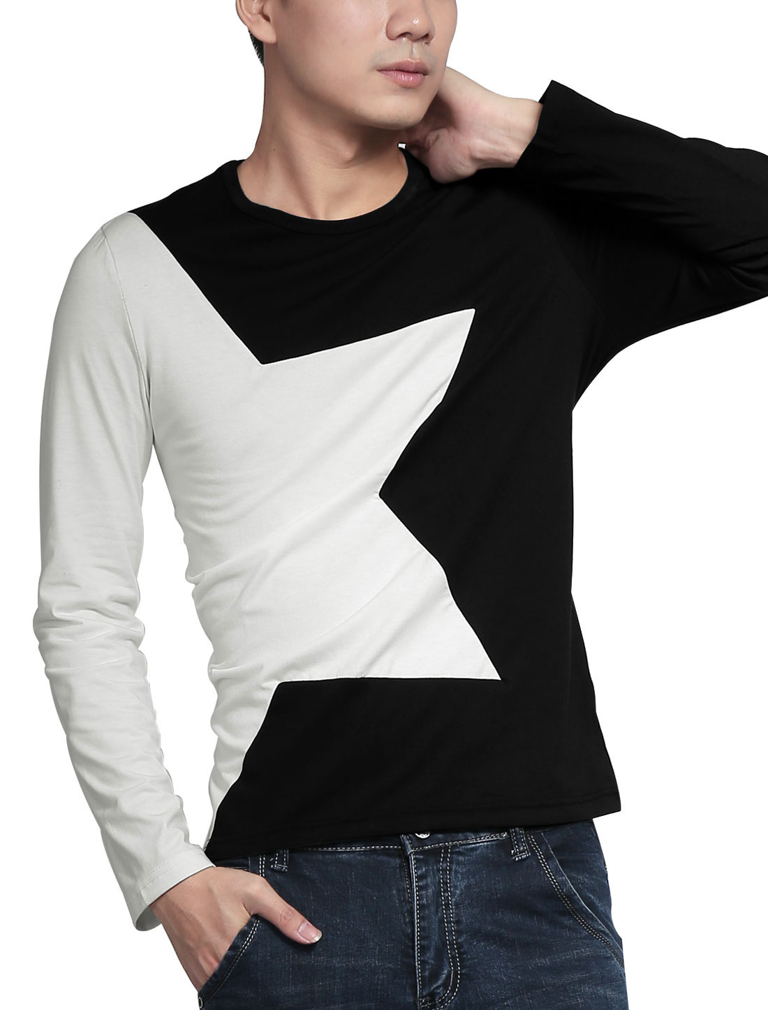 Mens Black White Round Neck Long Sleeve Star Pattern Autumn New Shirt S