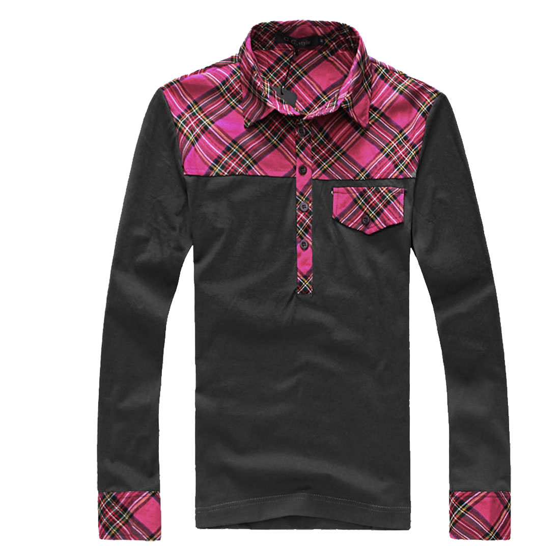 Men Dark Gray Fuchsia Fashion Plaids Pattern Detail Fall Shirt M