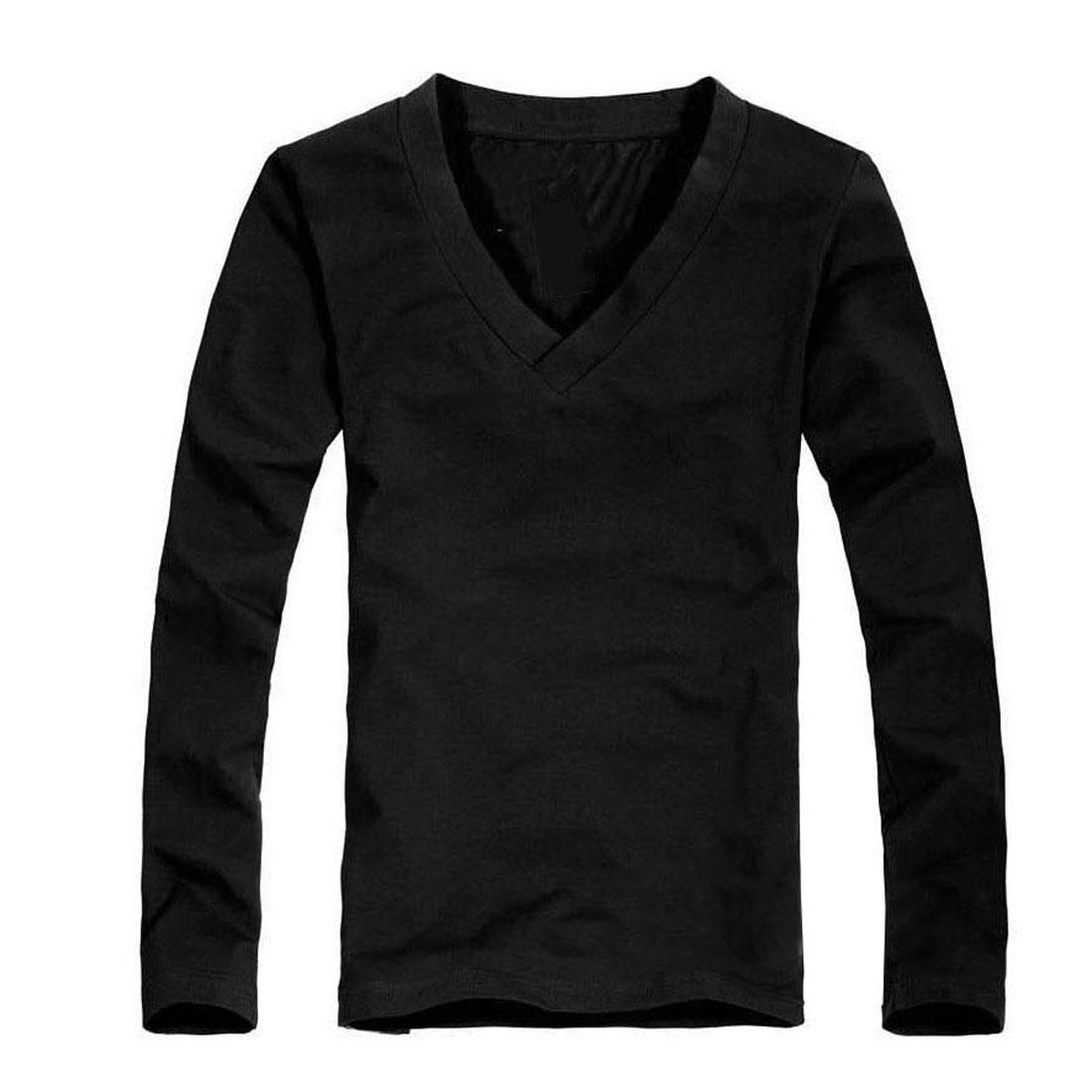 Mens Black V Neckline Long Sleeves Pullover Stretchy Shirt S