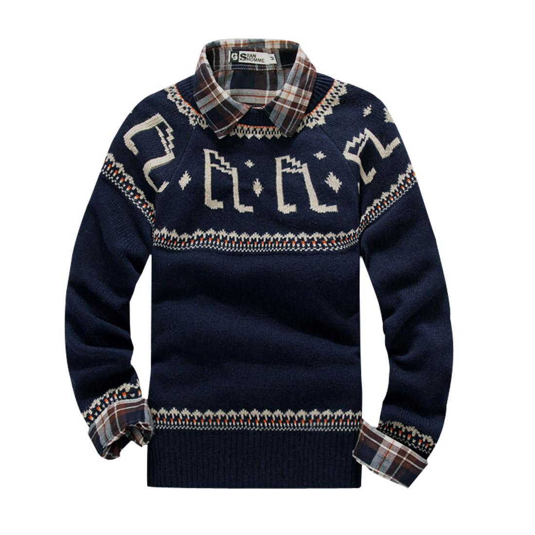 Men Dark Blue Music Notes Pattern Long Sleeves Fashion Sweater M