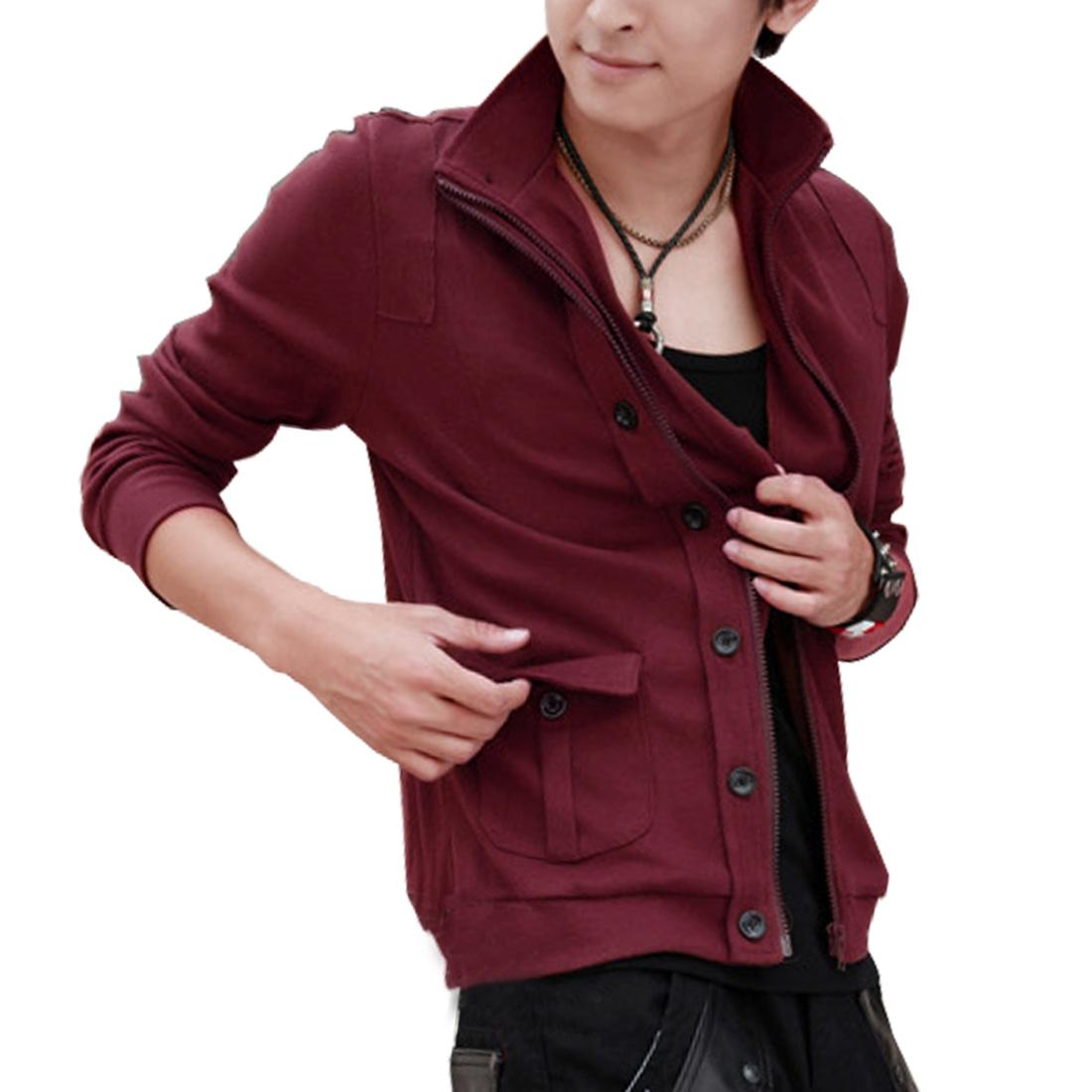 Men Burgundy Long Sleeves Front Pockets Design Zip Up Coat M