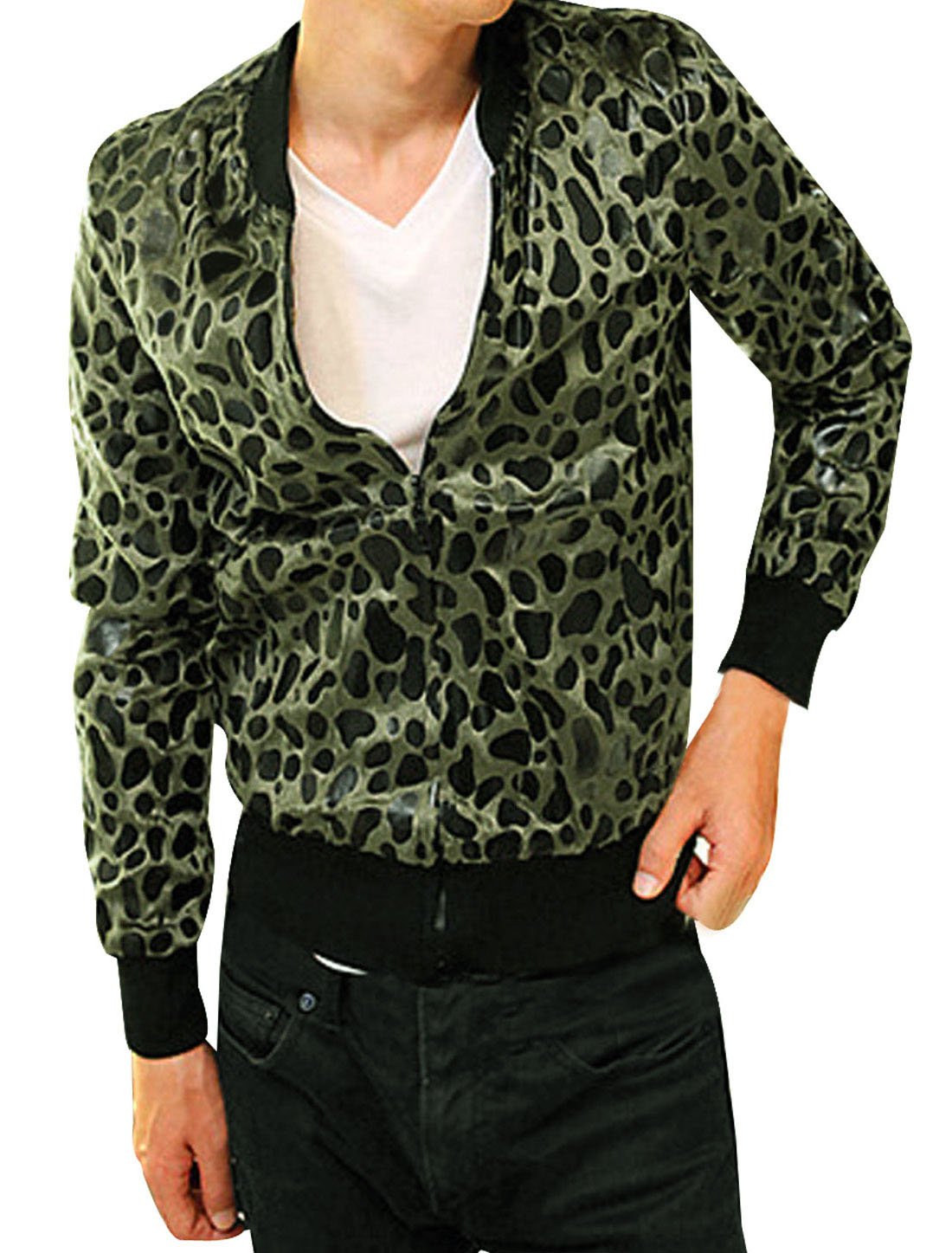 Mens Olive Green Black NEW Leopard Prints Slant Pockets Zipped Bomper Jacket S