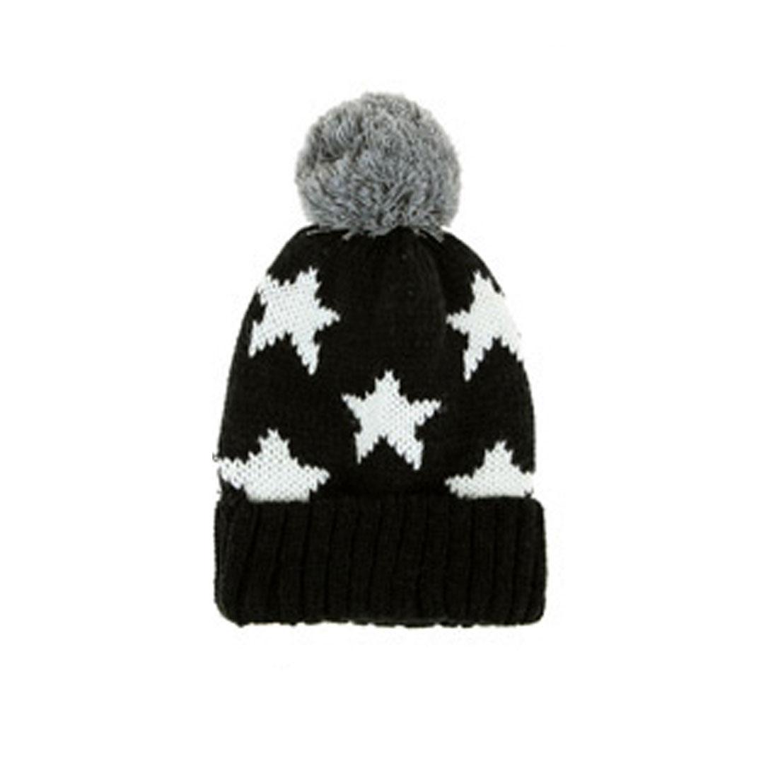 Mens Black White Gray Pom Pom Top Knitting Warmer Beanie Hat
