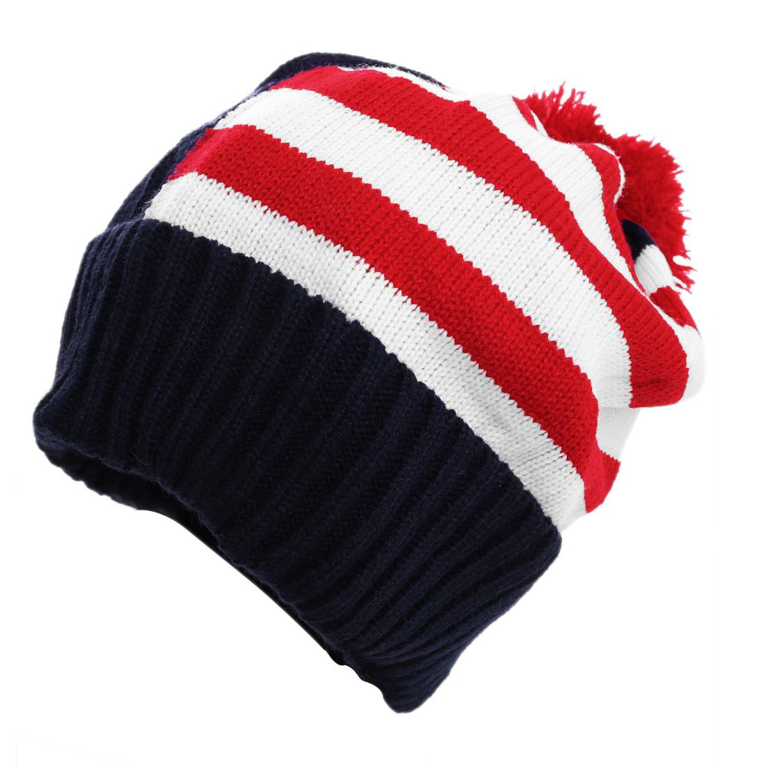 Men Dark Blue White Red Casual Knit Stripes Pattern Beanie Hat