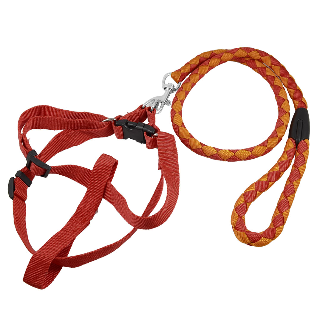 Doggie Pet Nylon Rope Lead Adjustable Dog Harness Leash Collar Set Red Orange