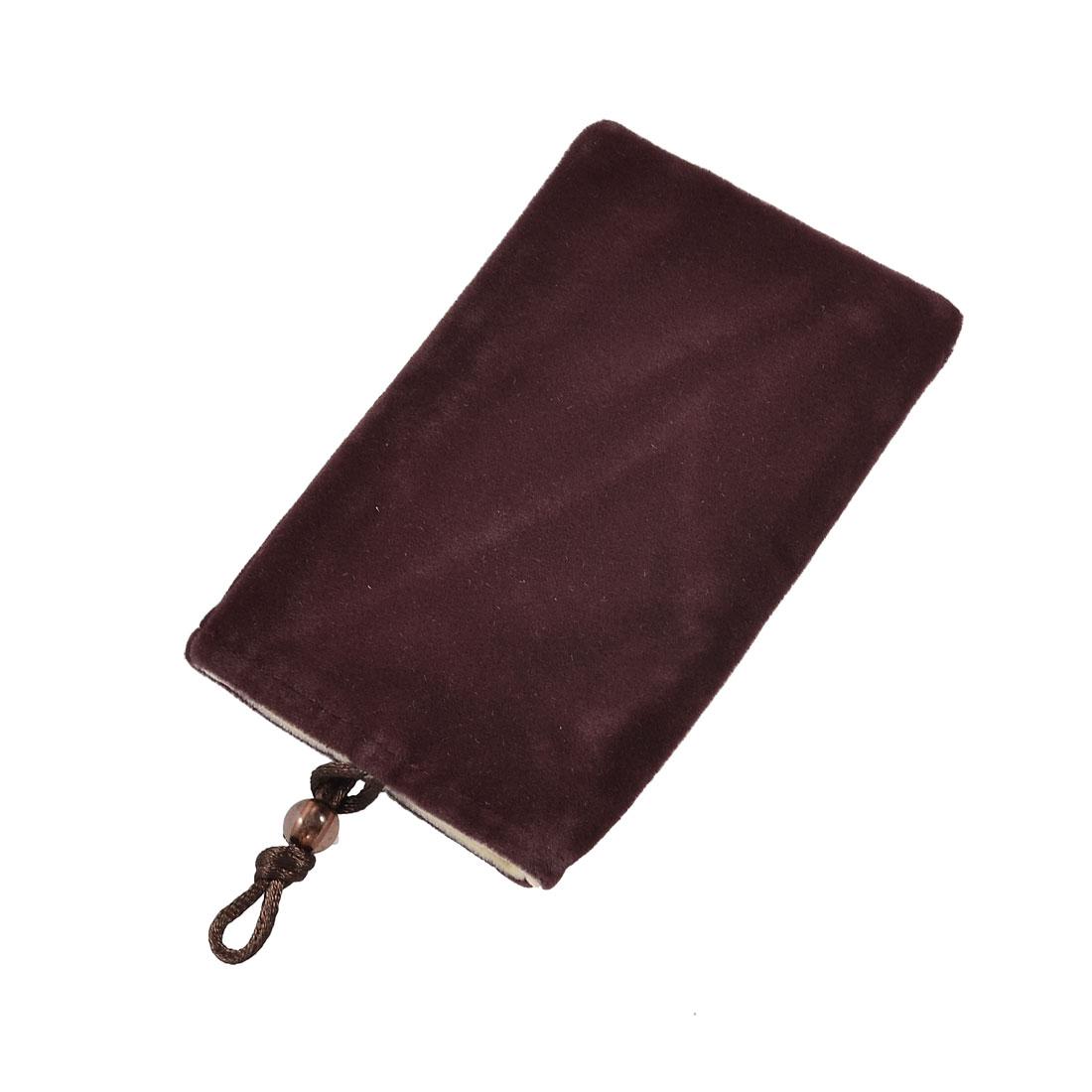 Beige Lining Burgundy Flannel Rectangle Shape Bag Holder for Phone