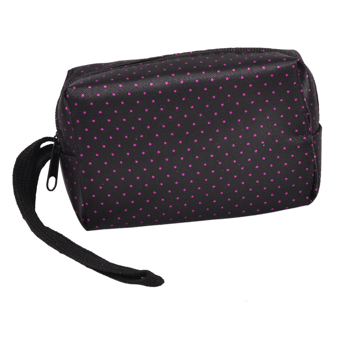 Fuchsia Dotted Print Rectangle Shape Zip Up Purse Bag Black w Strap for Lady