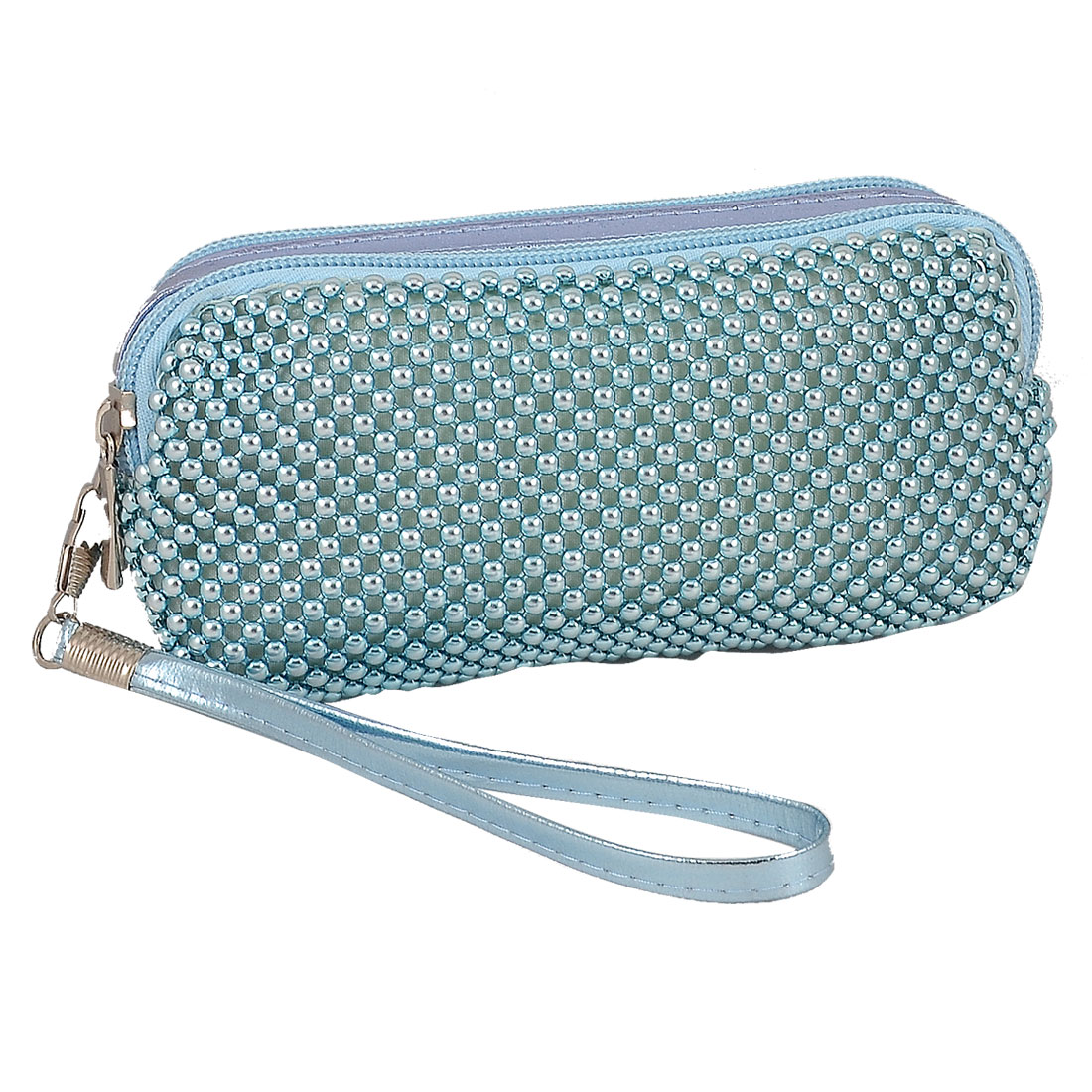Lady Removable Hand Strap Zipper Plastic Beads Decoration Bag Wallet Purse Blue