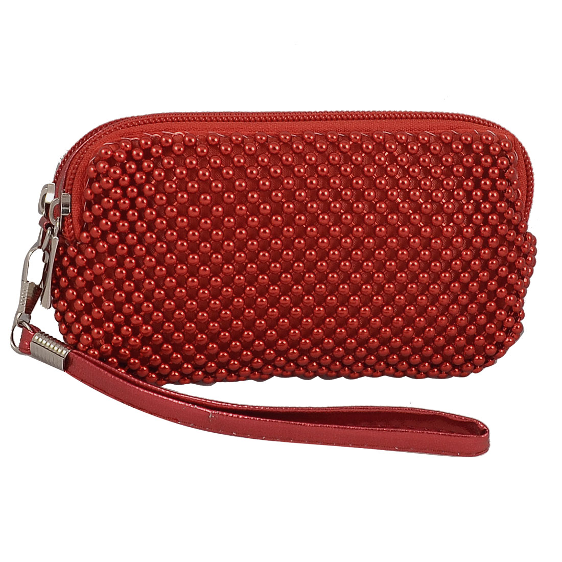 Women Dual Zipper Closure 2 Pockets Red Wristlet Wallet Purse Pouch Holder