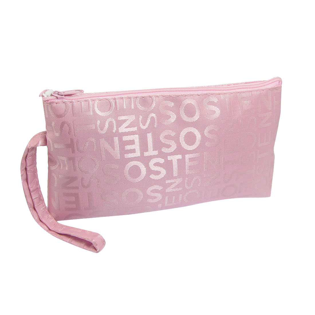 Lady Pink Letter Print Zip Up Rectangle Shaped Cosmetic Pouch Bag