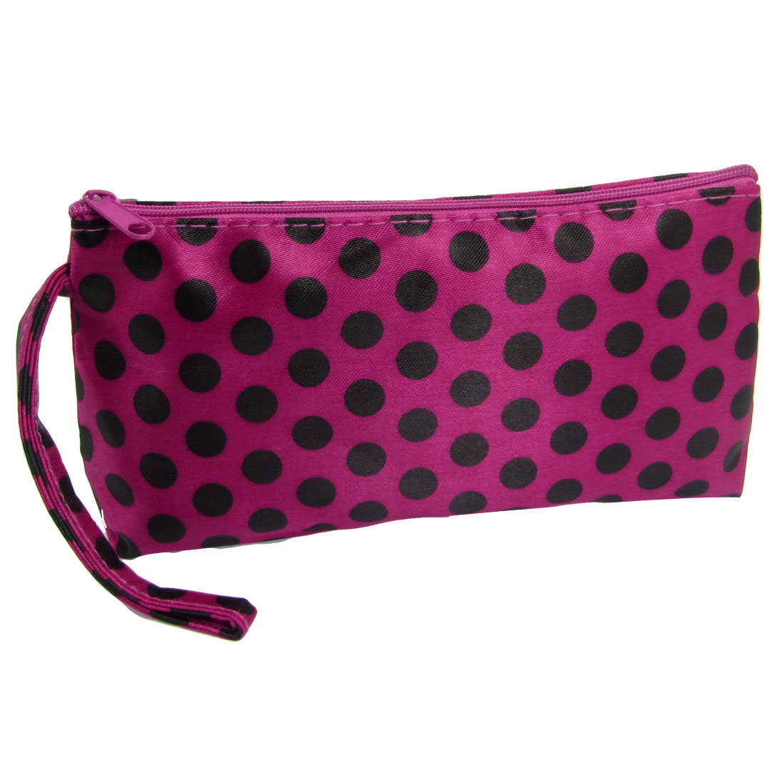 Zipped Up Black Dots Print Mirror Lipstick Cosmetic Holder Bag for Lady