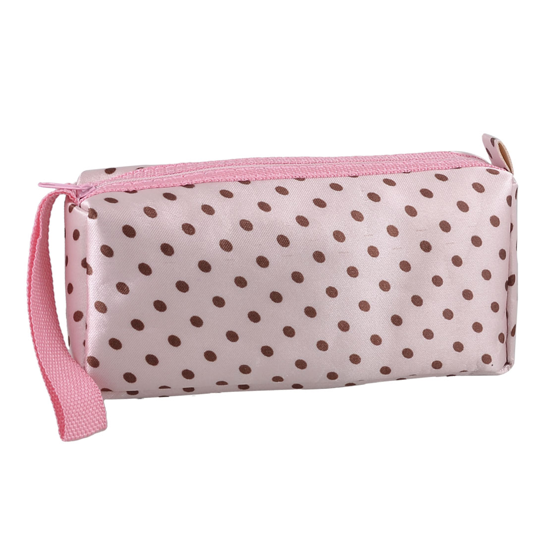Lady Pink Brown Dotted Perfume Brushes Pouch Makeup Holder Bag w Strap